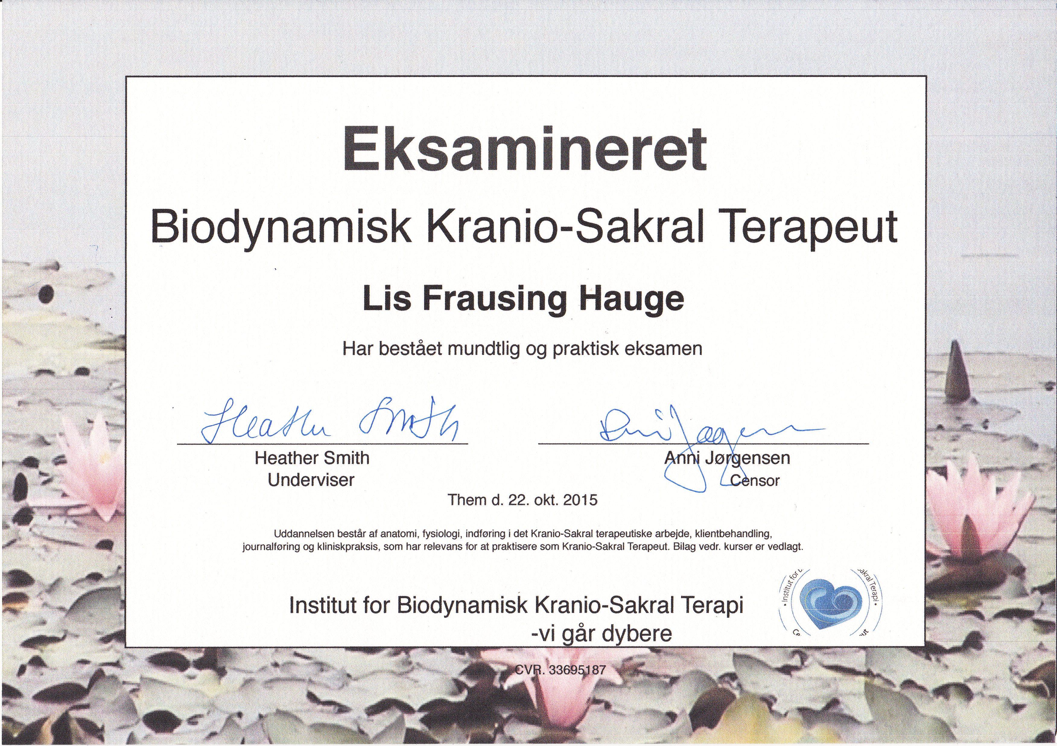 BKST uddannelse og eksamen. Kranio-Sakral Terapi når det er bedst. Kontakt eksamineret terapeut, Lis Hauge, 40199714
